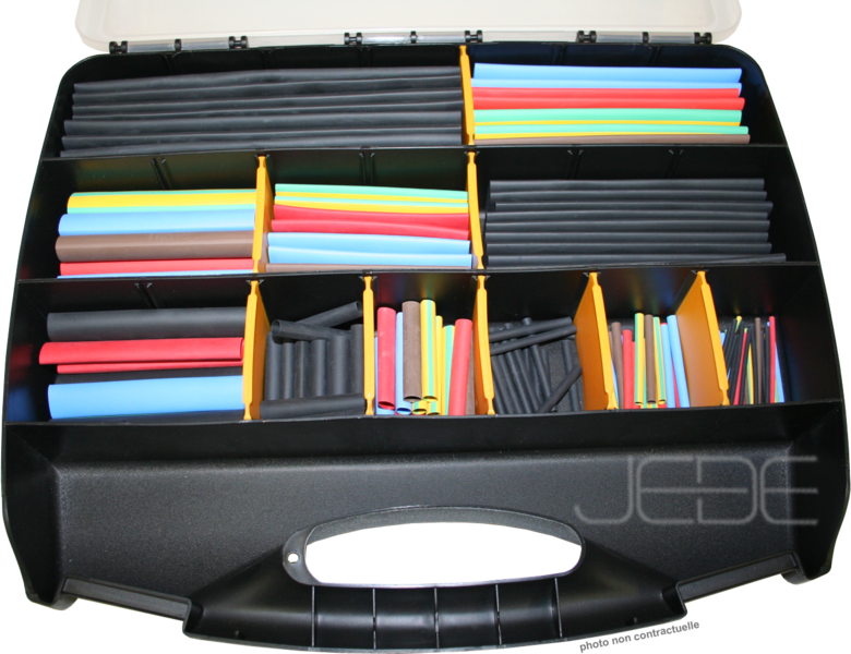bo te d 39 assortiments de gaine thermor tractable 3 1 noir et couleurs paroi mince 170 pi ces. Black Bedroom Furniture Sets. Home Design Ideas