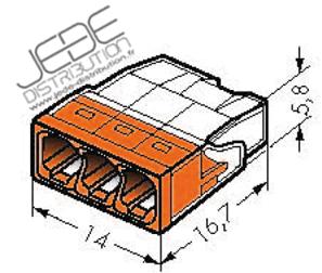 borne wago 2273 203 ultra compact 3x0 5 transp orangejede. Black Bedroom Furniture Sets. Home Design Ideas