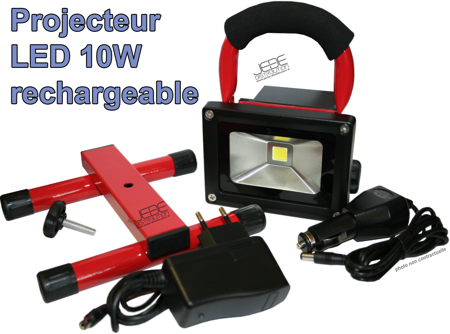 projecteur de chantier led autonome 10w jede distribution. Black Bedroom Furniture Sets. Home Design Ideas