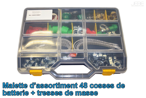 Malette assortiment 44 cosses de batterie + tresses de masse
